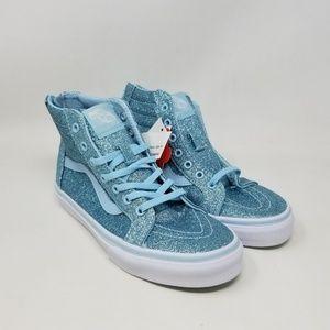Vans Sk8-Hi Zip Shimmer Blue Sneakers Kid's Size 3